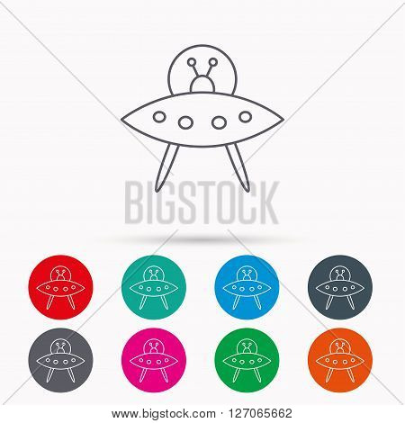 UFO icon. Unknown flying object sign. Martians symbol. Linear icons in circles on white background.