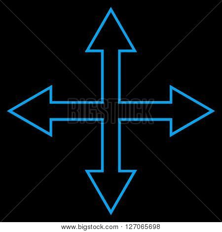 Maximize Arrows vector icon. Style is thin line icon symbol, blue color, black background.