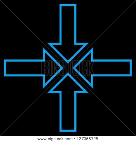 Meeting Point vector icon. Style is stroke icon symbol, blue color, black background.