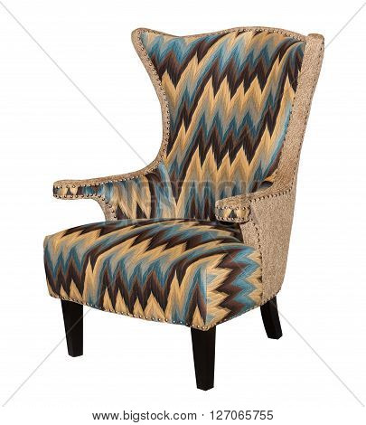 Comfortable designed colorful arm chair isolated on white background