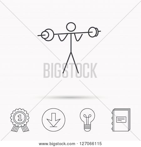 Weightlifting icon. Heavy fitness sign. Muscular workout symbol. Download arrow, lamp, learn book and award medal icons.