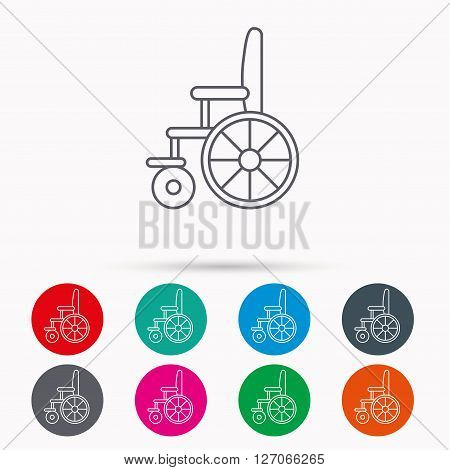 Wheelchair icon. Disabled traffic sign. Linear icons in circles on white background.