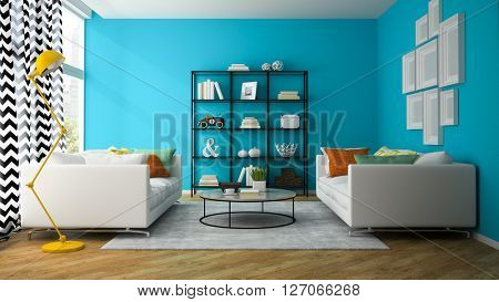 Interior of living room with glass shelf 3D rendering