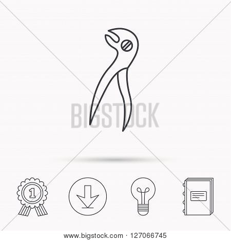 Dental pliers icon. Stomatological forceps tool sign. Download arrow, lamp, learn book and award medal icons.