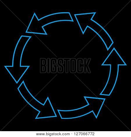 Rotation Ccw vector icon. Style is outline icon symbol, blue color, black background.