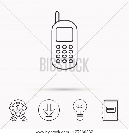 Mobile phone icon. Cellphone with antenna sign. Download arrow, lamp, learn book and award medal icons.