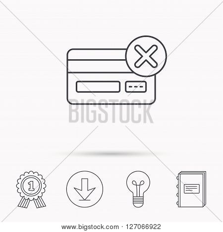 Remove credit card icon. Shopping sign. Download arrow, lamp, learn book and award medal icons.