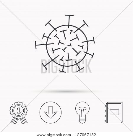 Virus icon. Molecular cell sign. Biology organism symbol. Download arrow, lamp, learn book and award medal icons.