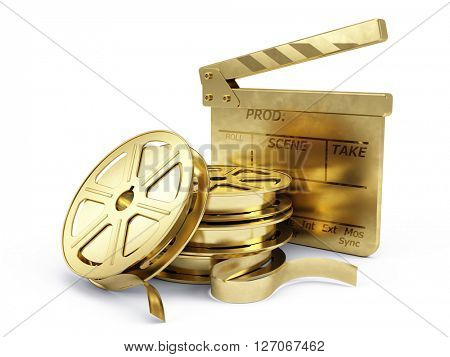 Golden Film Reels and Clapper board - 3d rendering