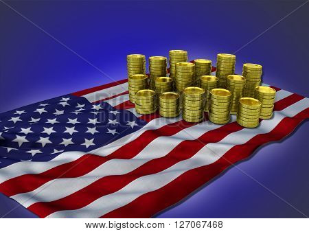 American economy concept with national flag and stack of golden coins on blue background - 3D render
