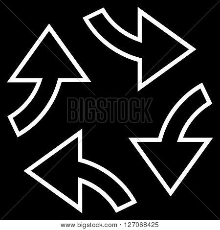 Circular Exchange Arrows vector icon. Style is stroke icon symbol, white color, black background.