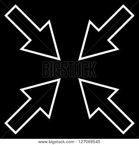 Compact Arrows vector icon. Style is contour icon symbol, white color, black background.