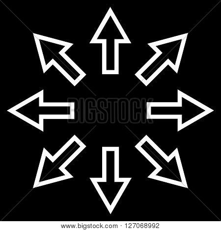 Explode Arrows vector icon. Style is contour icon symbol, white color, black background.