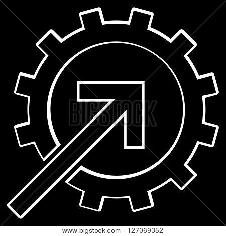 Integration Arrow vector icon. Style is outline icon symbol, white color, black background.
