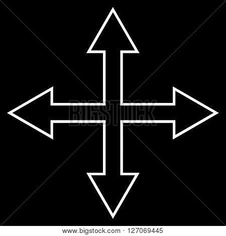 Maximize Arrows vector icon. Style is stroke icon symbol, white color, black background.