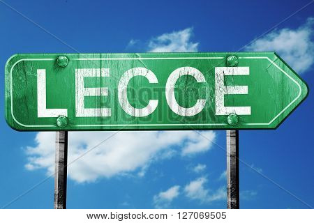 Lecce road sign, on a blue sky background
