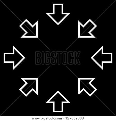 Pressure Arrows vector icon. Style is contour icon symbol, white color, black background.