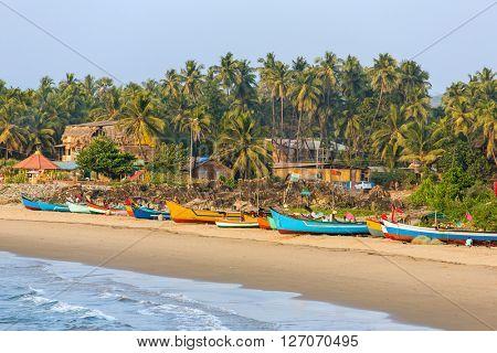 Fisherman boats on the Gokarna beach in Karnataka, India