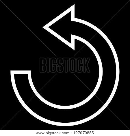 Rotate Ccw vector icon. Style is stroke icon symbol, white color, black background.
