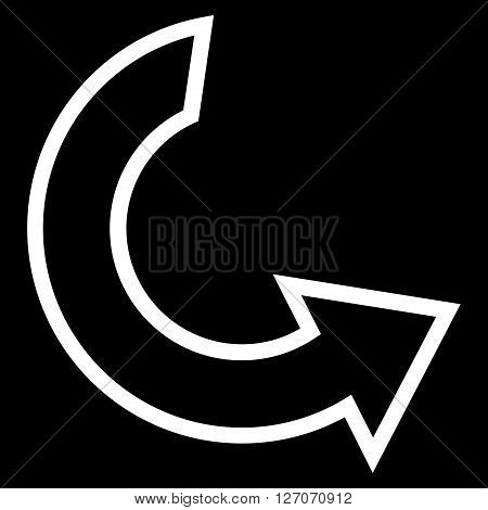 Rotate Ccw vector icon. Style is thin line icon symbol, white color, black background.