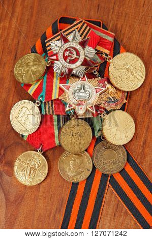 Medals For The Victory Over Germany In The Great Patriotic War Of 1941-1945 And George's Ribbon