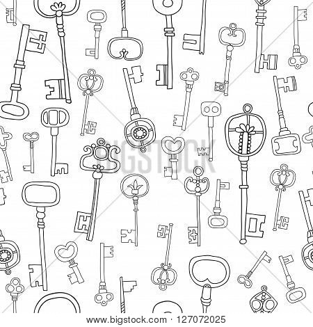Decorative black and white vintage, antique keys for coloring book, pages. Seamless pattern. Vector illustration