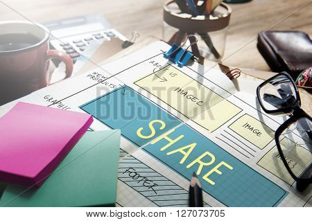 Web Design Layout Share Sharing Concept