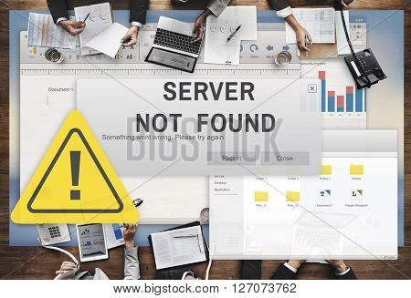 Server Not Found Error Inaccessible Concept