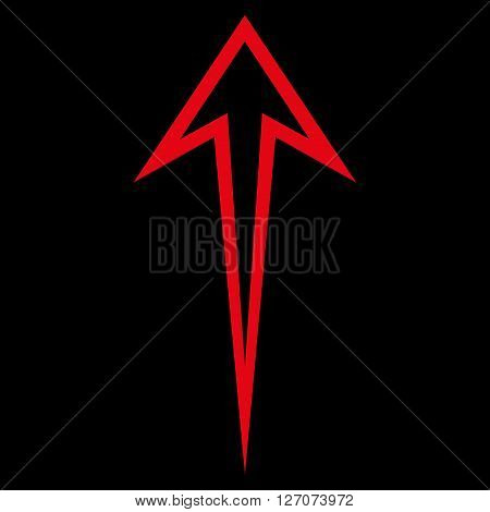 Arrow Up vector icon. Style is outline icon symbol, red color, black background.
