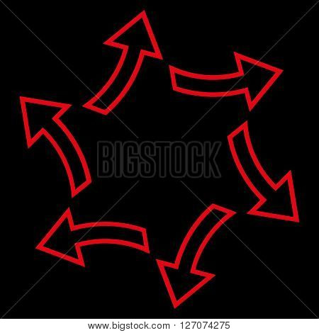 Centrifugal Arrows vector icon. Style is outline icon symbol, red color, black background.