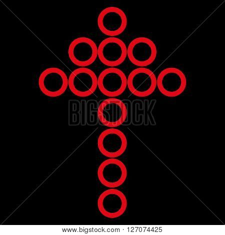 Circle Arrow Up vector icon. Style is contour icon symbol, red color, black background.