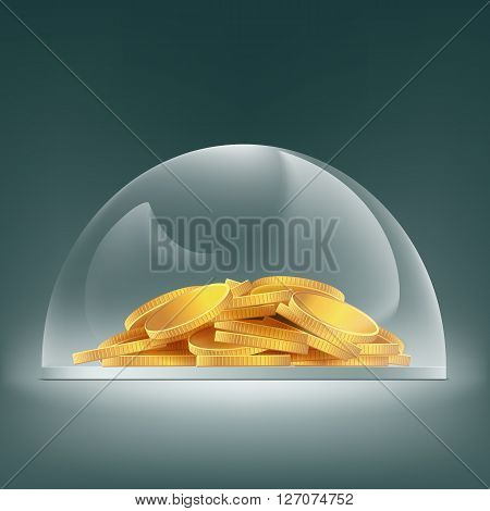 Heap of gold coins under the glass dome. Savings finances. Stock vector illustration.