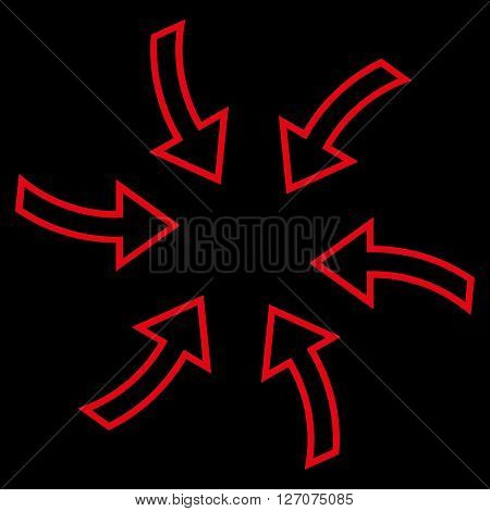 Cyclone Arrows vector icon. Style is stroke icon symbol, red color, black background.