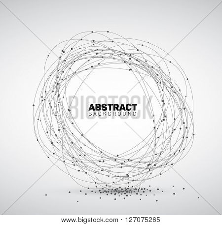 Abstract black and white vector background made from points and circles. Abstract Geometry. Geometrical abstract shape.