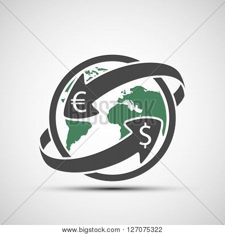 Simple icon earth planet with arrows. Money transfers. Stock vector illustration.