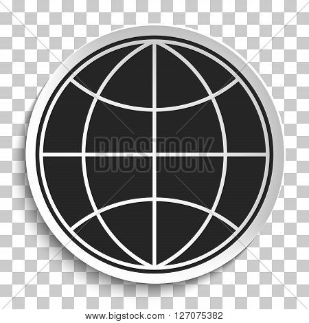 Earth Globe Icon on White Plate. Earth on Plate Vector Illustration isolated on transparent background. Black Earth with meridians and parallels. Travel and Transportation Concept.