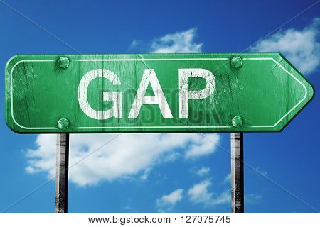 gap road sign, on a blue sky background