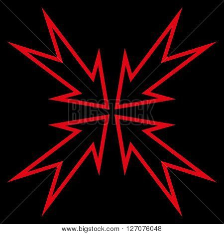 Meeting Point vector icon. Style is thin line icon symbol, red color, black background.