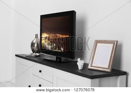 TV set in the interior of light room