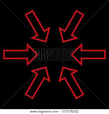 Pressure Arrows vector icon. Style is contour icon symbol, red color, black background.
