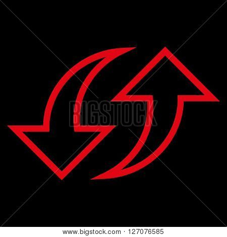 Replace Arrows vector icon. Style is stroke icon symbol, red color, black background.
