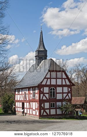 NEU ANSPACH, GERMANY - APRIL 18, 2016: old timbered church at the Hessenpark Open-Air Museum