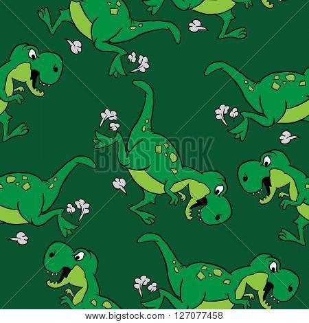 dinosaur seamless pattern on green