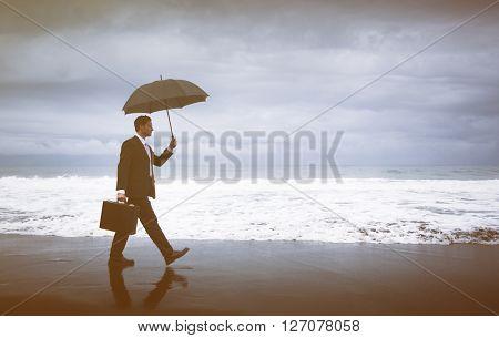 Businessman Facing Storm Concept