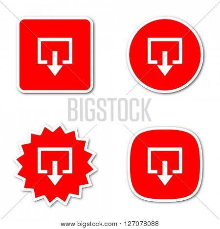 exit simple red web internet icon set flat design sticker tag