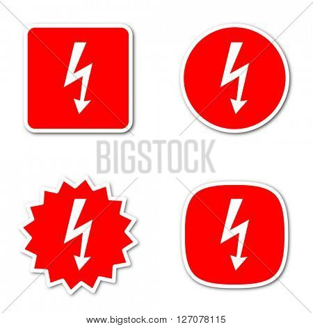 bolt simple red web internet icon set flat design sticker tag