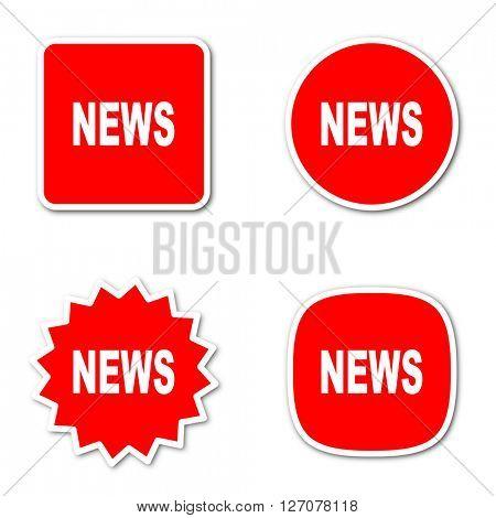 news simple red web internet icon set flat design sticker tag