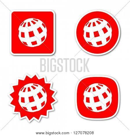earth simple red web internet icon set flat design sticker tag