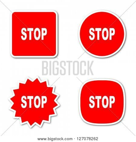 stop simple red web internet icon set flat design sticker tag