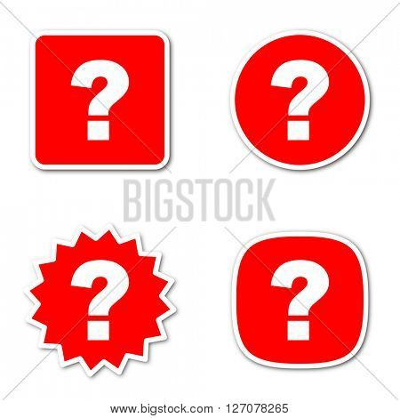 question mark simple red web internet icon set flat design sticker tag